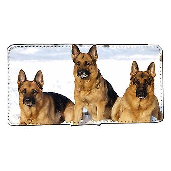 iPhone 7/8 wallet case Snow Schäfer dog puppies Peel