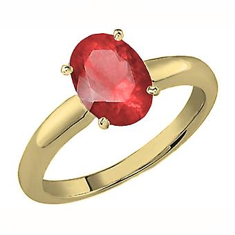 Colección Dazzlingrock 14K 8X6 MM Corte Ovalado Ruby Ladies Solitaire Bridal Engagement Ring, Oro Amarillo
