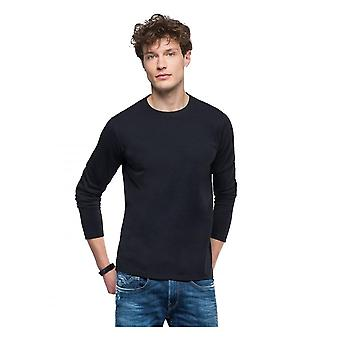 Replay Jeans Replay Long Sleeve Raw Cut T Shirt Washed Black