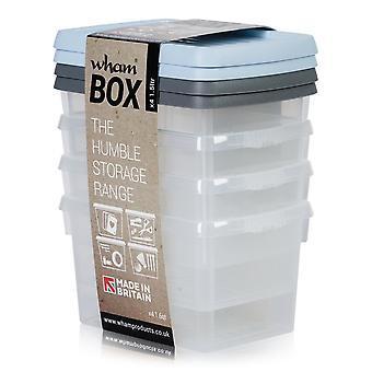 Wham opberg set van 4-1,5 liter Wham plastic Opbergdozen met gemengde gekleurde deksels