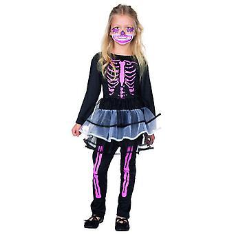 Skelett Kleidchen mit Leggings Kostüm Kinder Halloween Kleid Mädchen Bones