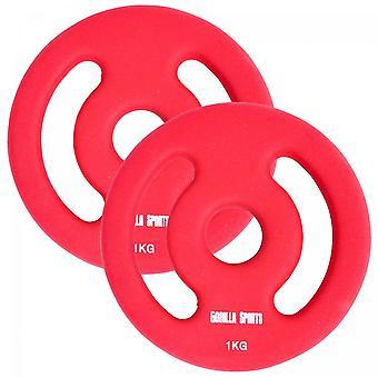 Hantelscheiben Set Neopren Rot 2 x 1 KG