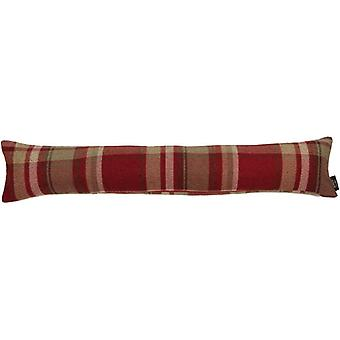 Mcalister textiles heritage tartan red + white fabric draught excluder