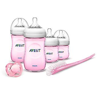 Avent Pink Newborn Bottle Set Natural Range