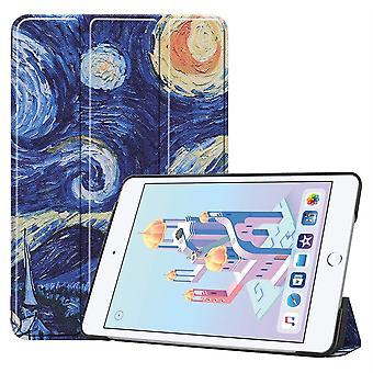 For iPad mini 5 2019 veske, karst tekstur folio PU skinn smart deksel, stjernehimmelen