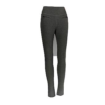 Peace Love World Leggings Ponte Knit with Zipper Charcoal Gray A285689
