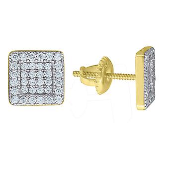 Yellow tone 925 Sterling Silver Mens CZ Cubic Zirconia Simulated Diamond Square Stud 9.7mm Earrings Jewelry Gifts for Me