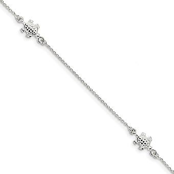 925 Sterling Silver Turtle With 1 Inch Ext. Anklet 9 Inch Jewelry Gifts for Women - 3.0 Grams