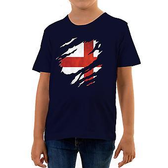 Reality glitch torn england flag kids t-shirt