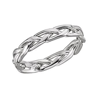 14k White Gold 3.75mm Polished Hand Woven Band Ring Jewelry Gifts for Women - Ring Size: 5 to 11