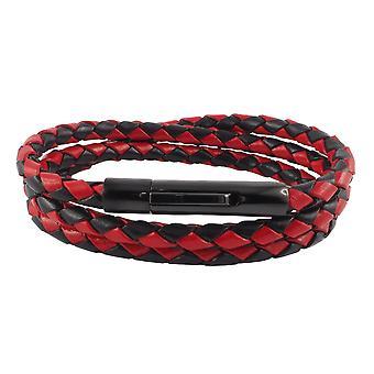 Lederkette Lederband 6 mm Herren Halskette Schwarz / Rot 17-100 cm lang mit Hebeldruck Verschluss Schwarz geflochten