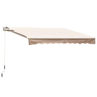 Outsunny 2.5m x 2m Garden Patio Manual Awning Canopy Sun Shade Shelter Retractable with Winding Handle Cream White