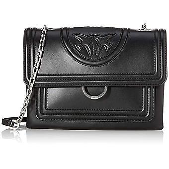 Pinko Big Soft New Monogramm Black Woman Cross Bag (schwarze Limousine) 5x22x29.2 cm (B x H x L)