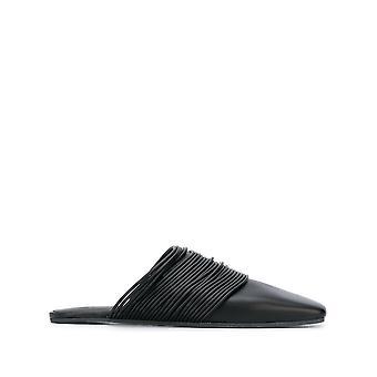 Mm6 Maison Margiela S40wx0038p3274t8013 Dames's Black Leather Slippers