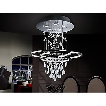 Schuller Bruma - Lampe en métal, finition chromée. Cristaux blancs avec des bords clairs. Ovales avec lumières LED et diffuseur de méthacrylate blanc. Bande LED 68W. 3.000 K. - 696427