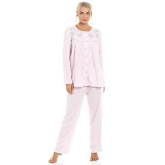 Camille Womens Classic leicht rosa Langarm voller Länge Pyjama Set