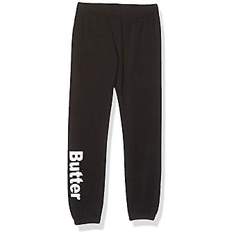Butter Girls' Big Fleece Jogger Pant, Solid Varsity Black, 7