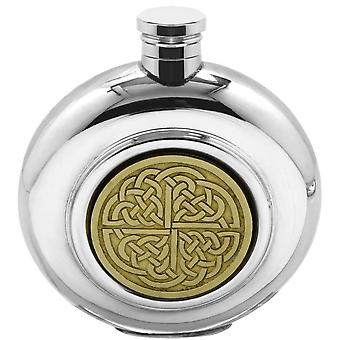Celtic Golden Kell Brass Disc Round Pewter Flask A - 6oz