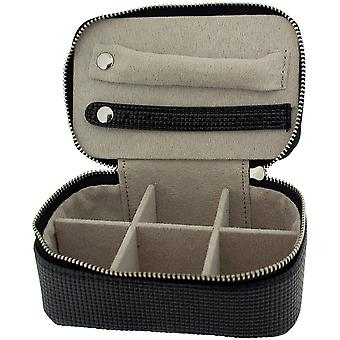 Mele Black Pu Rectangle Small Jewellery Case Ideal For travel 1543