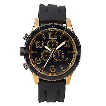 Eton Mens Black Silicone Strap Watch, Gold Tone accent, Case: 48mm - 3270J-BKGD