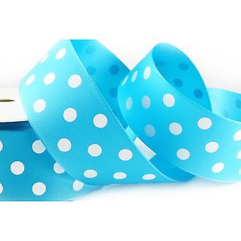 20m Blue 38mm Wide Polka Dot Satin Ribbon for Crafts