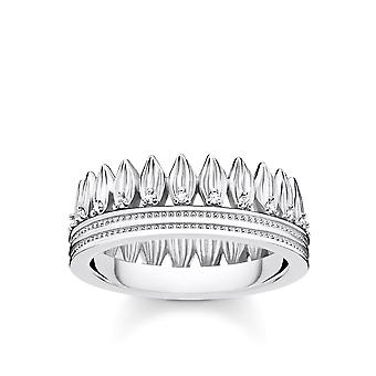 Thomas Sabo Sterling Silver Sterling Silver White Leaf Ring TR2282-051-14