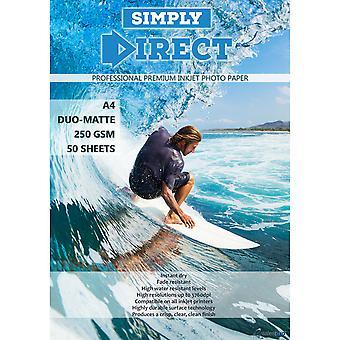 50 x Simply Direct A4 Duo Matte / Matte Inkjet Photo FSC Printing Paper - 250gsm - Professional Premium Photographic Printer Paper