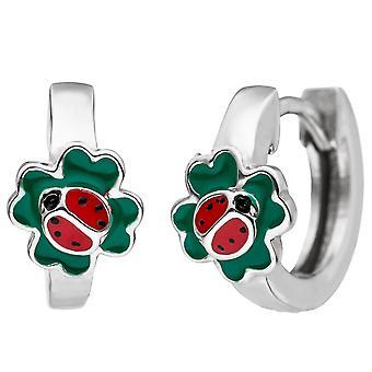 Kids hoops Ladybug Shamrock 925 Sterling Silver earrings, kids earrings
