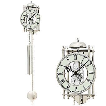 AMS 304 seinäkello heiluri mekaaninen heiluri kello hopea luuranko kello