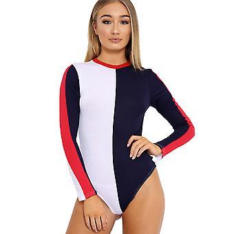 Ladies Block Patterned Bodysuit