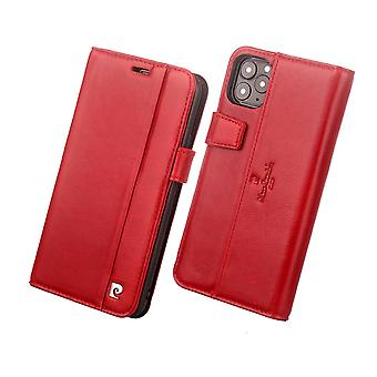 Pierre Cardin Leder Bücherregal Fall iPhone 11 Pro Max - rot