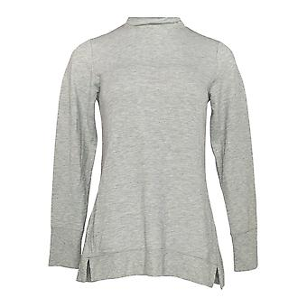 H by Halston Women's Top XXS French Terry Funnel Neck Gray A370649