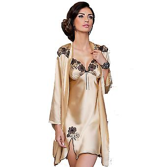 Irall Petra Champagne and Black Embroidery Satin Dressing Gown