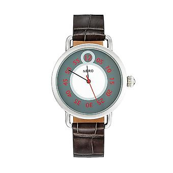 Nero 96 Nuovo Unisex Smoke Italian Leather Strap Quartz Watch - Smoke