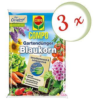 Sparset: 3 x COMPO Garden fertilizer Blue grain® NovaTec®, 7.5 kg