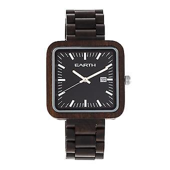 Earth Wood Berkshire Bracelet Watch w/Date - Dark Brown