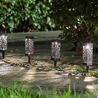 Modern Home Set of 6 Solar Powered LED Path Lights - Modern Deco Design - Light Up Walkway or Use as Luminary