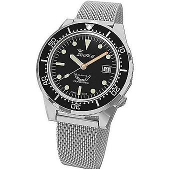 Squale Diver's Watch Professional 1521-026/A polished black steel mesh