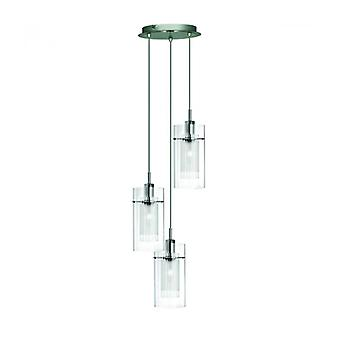 Pendant Light 3 Bulbs Duo1 In Chrome And Glass