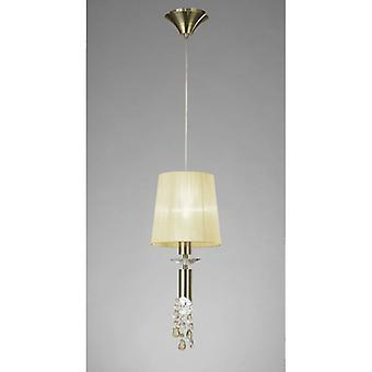 Tiffany Pendant Lamp 1 + 1 E27 + G9 Bulb, Antique Brass With Cream Shade & Transparent Crystal
