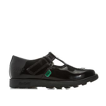 Girl's Kickers Infant Fragma T-Bar Patent Shoes em preto