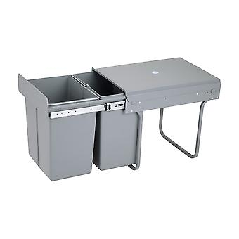 Charles Bentley Pull Out Kitchen Cupboard Bin 40L Capacity - Recycling Multi Compartment Odour Preventing Lid