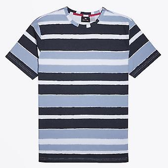 PS Paul Smith - Orgaaninen puuvilla raita T-paita - Sininen/Harmaa