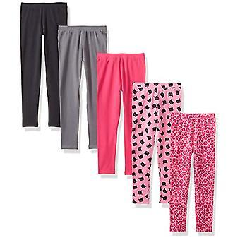 Brand - Spotted Zebra Girls' Little Kid 5-Pack Leggings, Pink Cat, Small