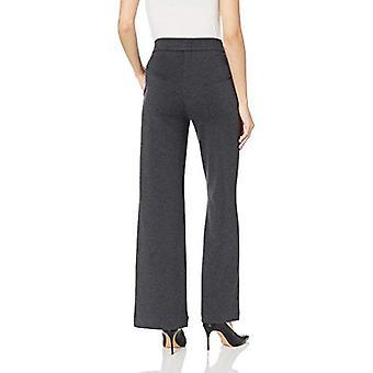 Brand - Lark & Ro Women's Wide Leg Ponte Pant, Salt/Pepper Mini Check,...