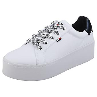 Tommy Jeans Icon Textile Womens Flatform Trainers in White