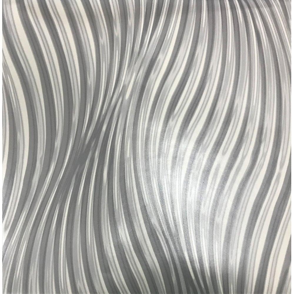 Debona 3d Effect Waves Modern Twist Smooth Silver Wallpaper Fruugo Uk