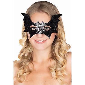 Netopýří maska Glitter Black Silver Oční maska dámské Halloween Bat