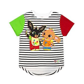 Bing Bunny T-Shirt Kızlar ve Erkekler için | Sula Karakterler Çizgili Siyah Beyaz Çocuk Top | Pamuk Kırmızı & Gri Kısa Kollu Raglan Giyim Hediye