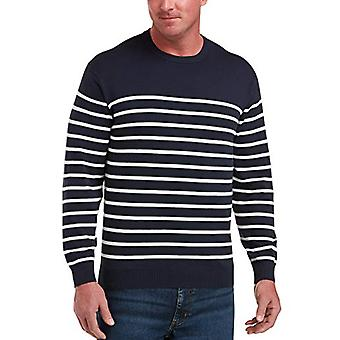 Essentials Men's Big & Tall Crewneck Tröja passar av DXL, Marinen / Vit Ma ...